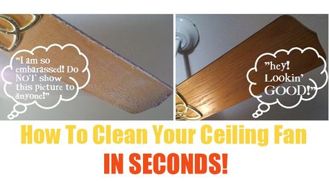Clean your dusty, crusty ceiling fan in seconds with this quick tip via One Good Thing