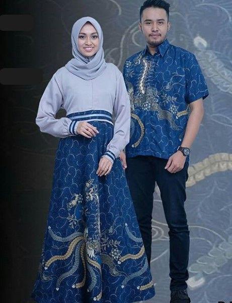 Model Baju Gamis Batik Kombinasi Kain Polos Modern Soft Blue Navy