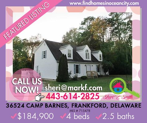 Featured Listing: 36524 Camp Barnes, Frankford, Delaware  ✔4 beds