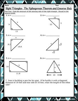 Right Triangles The Pythagorean Theorem And Converse Quiz With