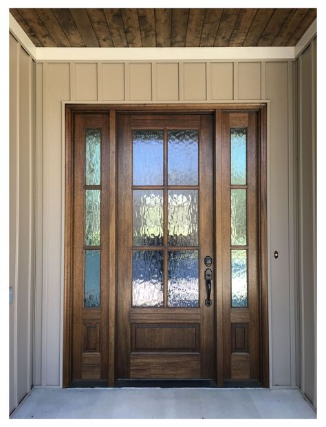 Double Front Doors, Modern Front Door, House Front Door, Glass Front Door, House Doors, Front Entry, Front Porch, Rustic Front Doors, Glass Doors