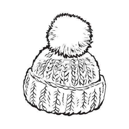 Bright Winter Knitted Hat With Pompon Sketch Style Vector Illustrations Isolated On White Background Hand Drawn Wool Hat Illustration Cap Drawing Hat Drawing