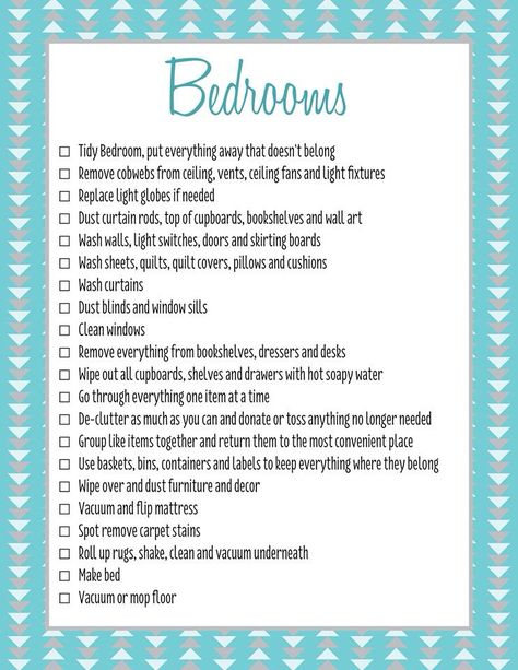 Bedrooms Spring Clean Checklist C Forever Organised  Cleaning