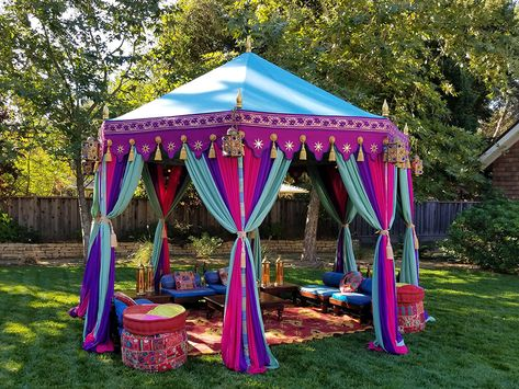 Summer of Love Garden party. Purple and aqua pavilion with lounge. Summer of Love Garden party. Purple and aqua pavilion with lounge. Arabian Theme, Arabian Party, Arabian Nights Theme, Aladdin Birthday Party, Aladdin Party, Moroccan Theme Party, Indian Party, Pool Party Decorations, Indian Wedding Decorations