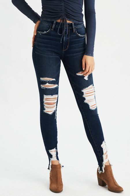 American Eagle SUPER HI-RISE CROP - Jeans Skinny Fit black