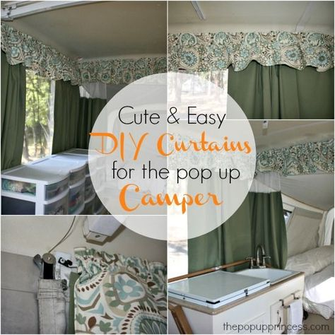 Pop Up Camper Makeover: The Curtains. Here's how we made the custom curtains and valance for our pop up camper. What a difference it made!