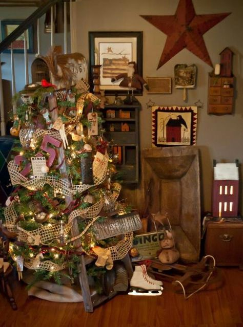 Primitive Ladder. Christmas tree.