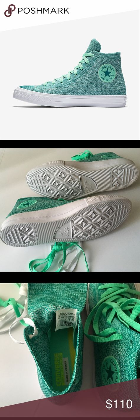 061dca8494e6b8 CONVERSE CHUCK TAYLOR ALL STAR X NIKE FLYKNIT HI-T BRAND NEW CONVERSE Chuck  Taylor all star x Nike flyknit Hi-top Sneaker (Unisex) green glow-Rio  UNISEX 7 ...