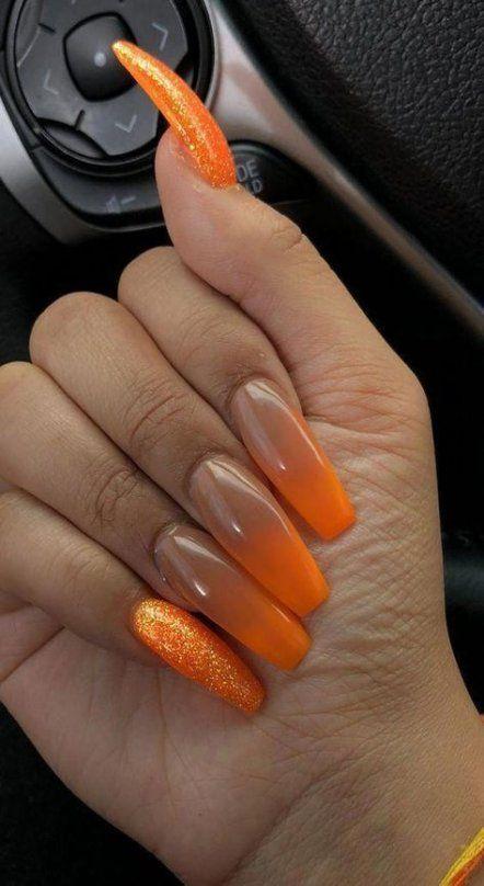 Popular Ideas Acrylic Nails Coffin Orange Ombre In 2020 Acrylic Nails Coffin Clear Acrylic Nails Glitter Nails Acrylic