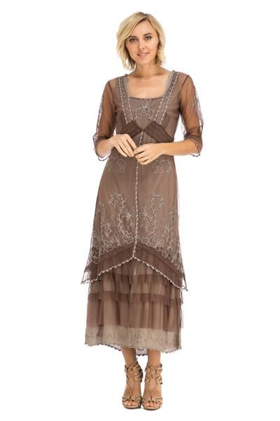 vintage chocolate lace mother of the bride gown