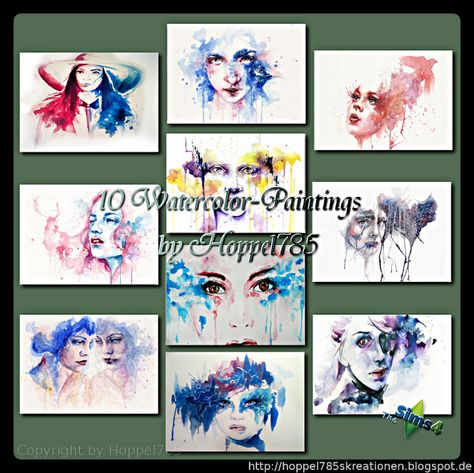 Paintings By Hoppel785 Sims 4 Aquarellbilder Aquarell
