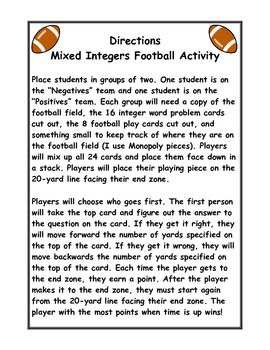 Add, Subtract, Multiply, and Divide Integers Football ...