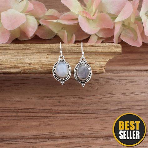 Rainbow Moonstone Earring,925 Sterling Solid Silver Earring,Antique Silver Earring Earring,Bride Ear