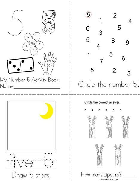 Number 5 Activity Book From Twistynoodle Com Book Activities Numbers Preschool Activities