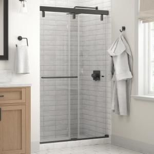 Delta Portman 48 X 71 1 2 In Frameless Mod Soft Close Sliding Shower Door In Bronze With 1 4 In 6mm Clear Glass Sd3442740 In 2020 Sliding Shower Door Shower Doors Tub Doors