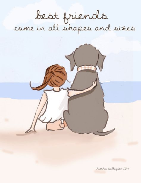 Dog Art  Best Friends Come in All Shapes by RoseHillDesignStudio