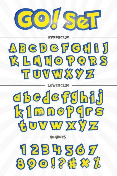 アルファベット 数字 および漫画のスタイルでのフレーズ ストックイラストレーション ポケモン 誕生日 ポケモン パーティ ポケモン