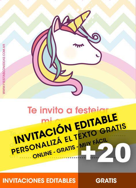 23 Hermosas Invitaciones De Unicornios Gratis Tarjetas
