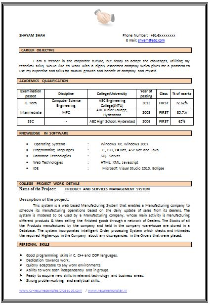 Resume Example For Freshers - Examples of Resumes