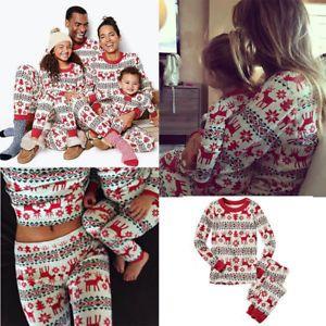 Christmas Lounge Nightwear Baby Kids Adult Matching Family Pajamas Set Sleepwear
