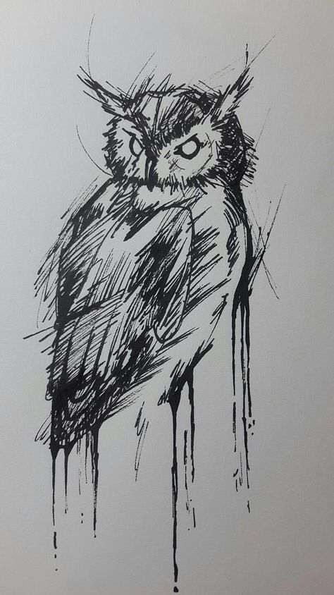 Ink Owl by CosmicPunsh on DeviantArt Animal Sketches, Art Drawings Sketches, Animal Drawings, Easy Drawings, Geometric Owl Tattoo, Tattoo Collection, Owl Tattoo Drawings, Farm Paintings, Scribble Art