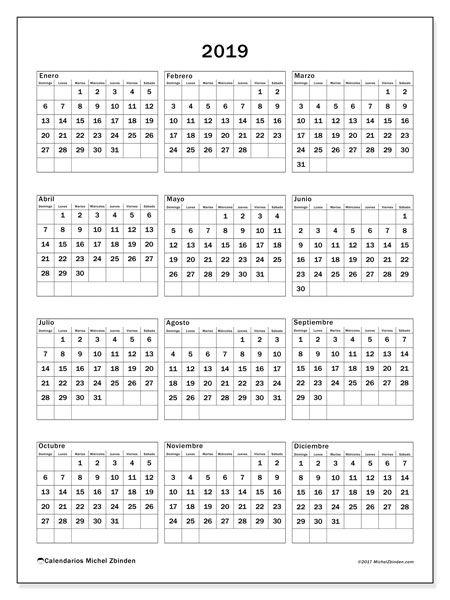 Calendario 2019 Para Colorear.Calendario 2019 36ds Organizate Calendario Anual