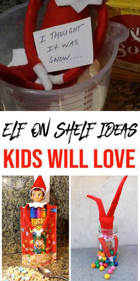 Elf on the Shelf Ideas! BEST Elf on the Shelf ideas that are NEW! Creative, unique & fun Elf ideas to keep him or her moving. Boys & girls will love these Elf ideas. Kids will love this Christmas Elf ideas. Cheap & cute Dollar Tree Elf on the Shelf ideas that are easy & simple. Find the BEST Elf on the Shelf ideas #christmas