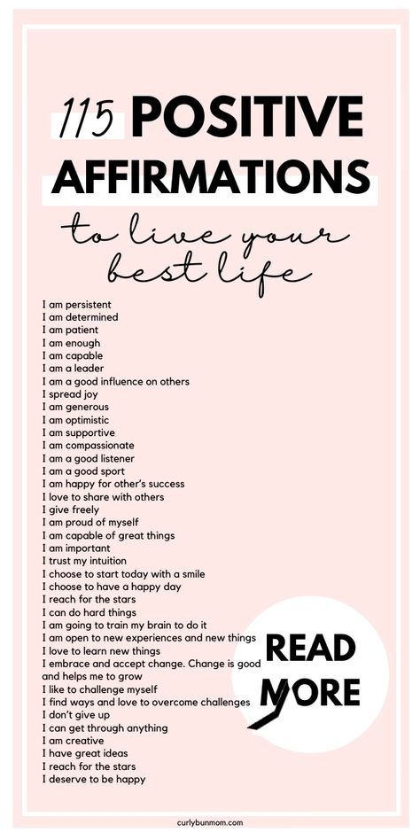 Daily Positive Affirmations to develop healthy self confidence and self image. Start living your best life now by repeating these positive affirmations daily. These are perfect affirmations for kids too! #positiveaffirmations #selfconfidence #bestself #believeinyou #strongwoman #bossbabe #affirmationsforkids