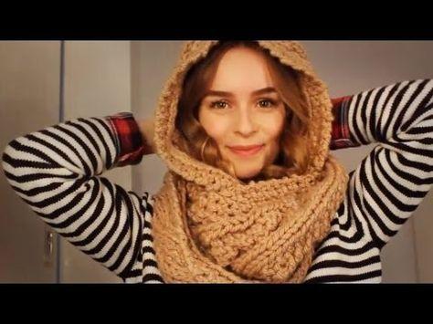 |DIY| Schal mit Kapuze stricken - Kapuzenschal - Schlauchschal - hooded scarf