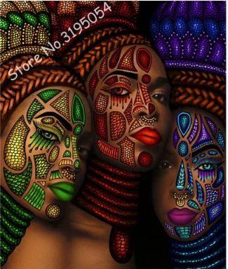 African women 3d Cross Stitch Full Diamond Embroidery Mosaic Pattern Beaded Painting
