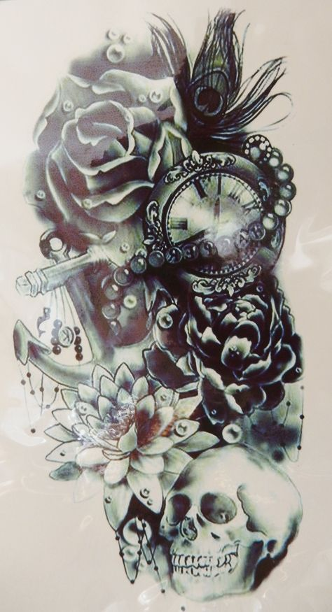 Large Cool Black Rose, Skull Temporary Tattoo