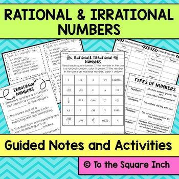 Introduction To Rational And Irrational Numbers Guided Notes And Interactive Math Notebook Math Interactive Notebook Irrational Numbers Interactive Notebooks Rational and irrational worksheets