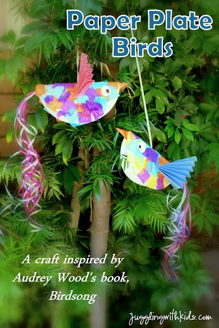 """Do you love the children's books by Don and Audrey Wood? Juggling With Kids made paper plate birds that were inspired by the book """"Birdsong""""."""