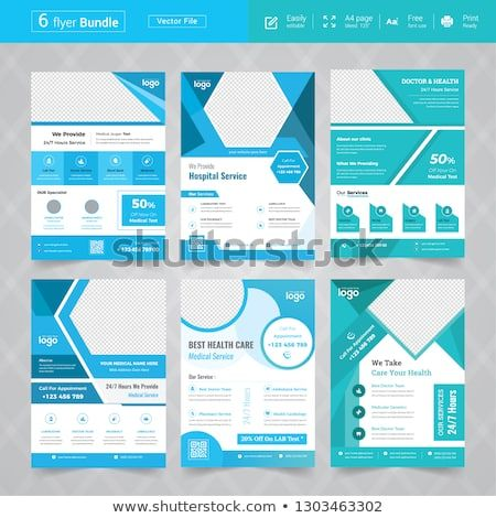 Cyan Color Medical Flyer Bundle Design Template Collection Layout In A4 Size Flyer Cyan Colour Design Template