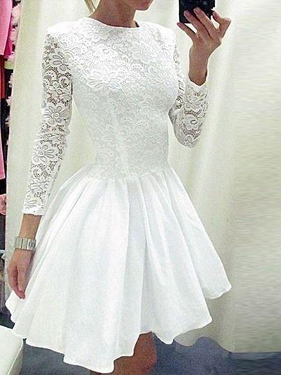 huge discount 8b482 a6ec6 Langarm Weiß Plissee Kleid Aus Spitze | Short dresses in ...