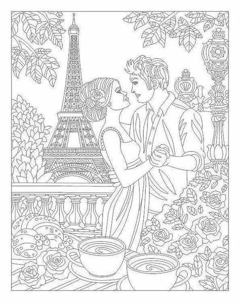 Adult Coloring - Paris Romance   Coloring books, Adult ...