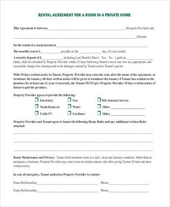 Month To Month Room Rental Agreement Template Month To Month