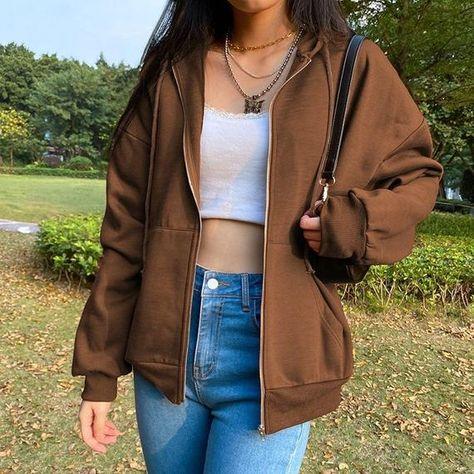 Brown Hoodie Sweashirt - Vintage Y2K Indie Oversized Sweater , 90s Women Streetwear
