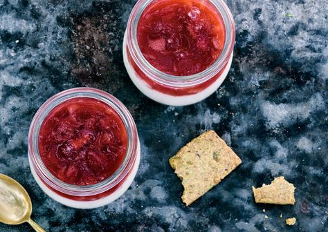 Buttermilk Panna Cotta with Rhubarb Strawberry Jelly