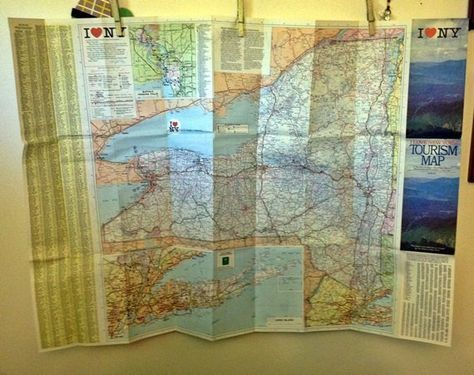Vintage New York Tourism Map New York State Tourist Guide Old