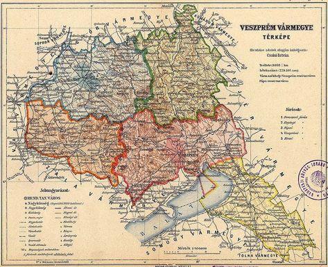 Veszprem Varmegye Kozigazgatasi Terkepe Terkep