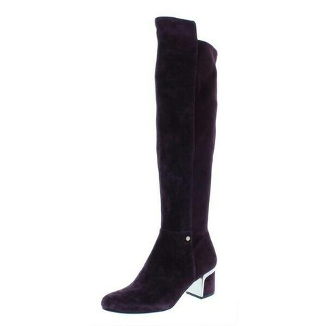 1fce7697667 DKNY Cora riding over the knee boot in Black leather with silver block heel  detail