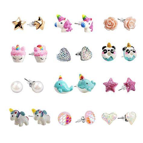 Amazon.com: SkyWiseWin Hypoallergenic Unicorn Earrings Set Little Girls, Children's Colorful Cute Unicorn Earrings for Kids (12earrings): Jewelry