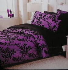 Purple N Black Bedspread Bedding Linen Bedroom Seating