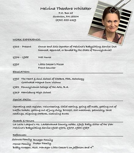 Melvina Theadora Whitaker's Resume | The Office | #TheOffice | Resumes |  Pinterest