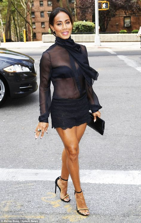 Jada Pinkett Smith Stuns in Lace Hot Pants at Dennis Basso Fashion Show