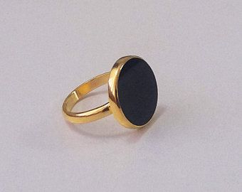 74e4acddafb69 Gold plated 18k Onyx flat gemstone ring, black stone ring, natural ...