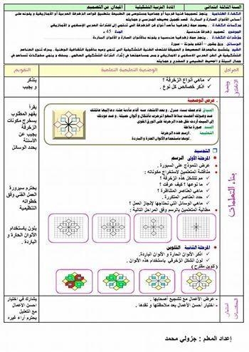 مذكرة التربية التشكيلية تصميم زخرفة هندسية السنة الثالثة ابتدائي الجيل الثاني Education Design Education Teaching