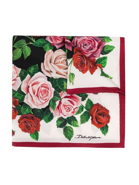 DOLCE /& GABBANA Seiden Schal Tuch BLACK PINK ROSES PRINT  SCARF