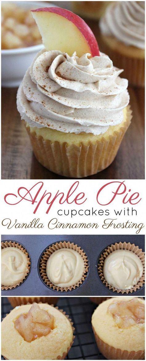 My apple pie cupcakes have all the flavors of apple pie in a moist cupcake and topped with whipped vanilla cinnamon frosting! apples applepie cupcakes applecupcakes applerecipes baking easy recipe dessert apfelkuchen im glas enie backt Food Cakes, Cupcake Cakes, Muffin Cupcake, Sweets Cake, Tea Cakes, Easy Cupcake Recipes, Easy Cheesecake Recipes, Frosting Recipes, Easy Baking Recipes